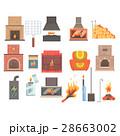 火 暖炉 いろりのイラスト 28663002