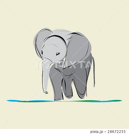 baby elephant go alone to drink waterのイラスト素材 [28672255] - PIXTA