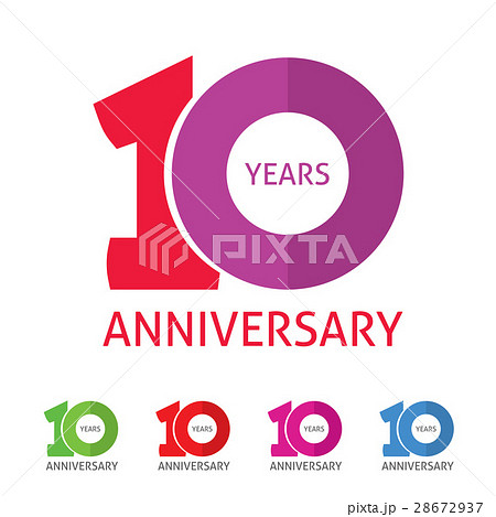 anniversary 10th logo template with shadow oのイラスト素材 28672937