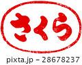 「さくら」筆文字朱印ロゴ素材 28678237