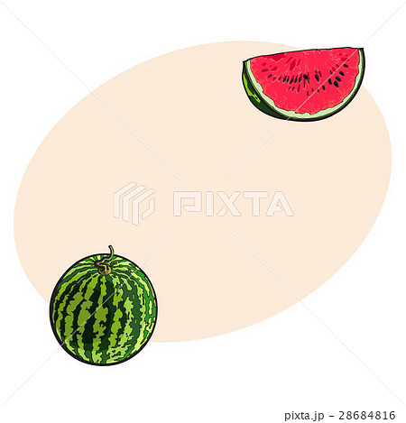 Whole watermelon and red slice with black seeds 28684816