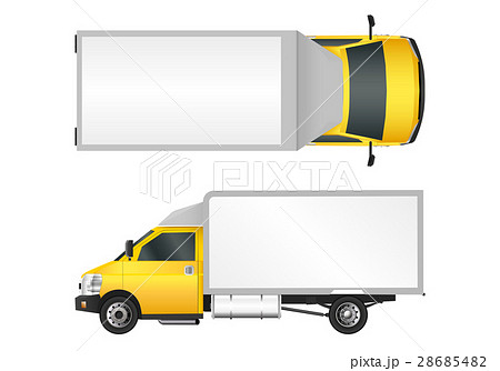 Yellow truck template. City commercial delivery 28685482