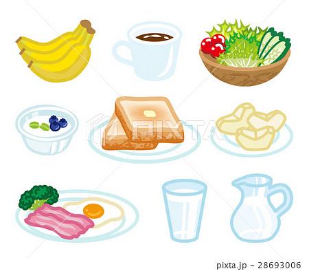 朝食セット 洋食 白バック 28693006
