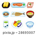 和食 朝食 食べ物のイラスト 28693007