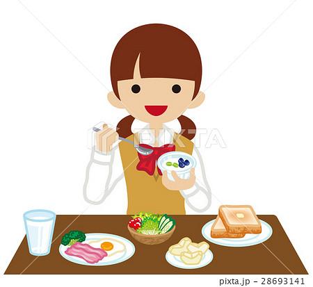朝食を食べる女子高生 長袖 28693141