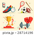 Running shoes and baseball bat, soccer, rugby ball 28714196