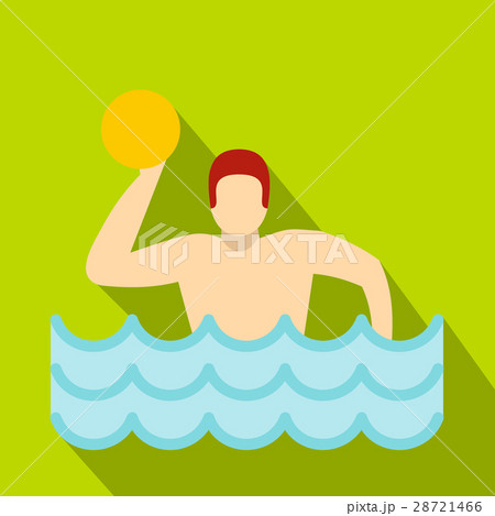 Water polo player in swimming pool icon flat style 28721466