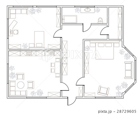 Abstract vector plan of two-bedroom apartmentのイラスト素材 [28729605] - PIXTA