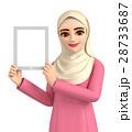 3Dイラスト - ヒジャブを着たイスラム女性がタブレットを操作している 28733687