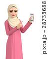 3Dイラスト - ヒジャブを着たイスラム女性がスマートフォンを操作している 28733688