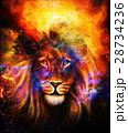 Portrait lion in cosmic space. Eye contact. 28734236