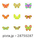Flying butterfly icons set, cartoon style 28750287