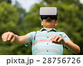 boy with virtual reality headset outdoors 28756726