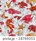 Seamless pattern of colorful hand drawn seashells 28769353