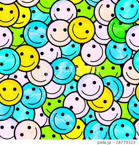 Crowd of Smiling emoticons. Smiles icon pattern.のイラスト素材 [28770323] - PIXTA