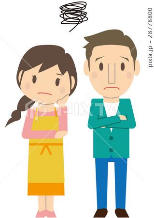 かわいいロングヘアと短髪の夫婦 困る のイラスト素材 28778800 Pixta