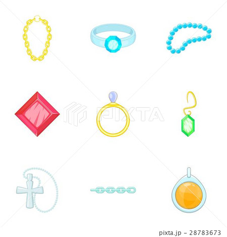 Gold and silver jewelry icons set, cartoon style 28783673