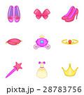 Princess elements icons set, cartoon style 28783756