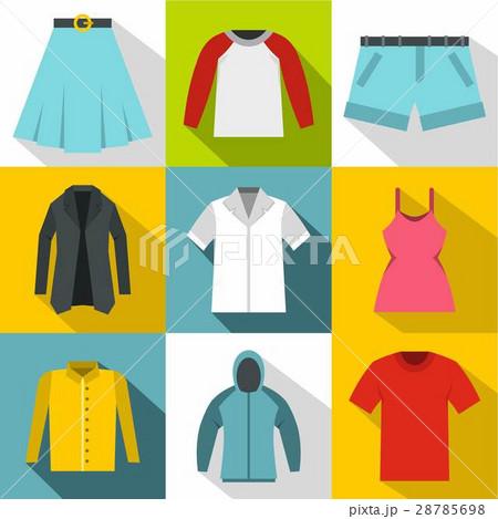 Kind of clothing icons set, flat style 28785698