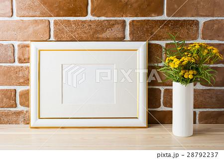 Gold decorated landscape frame mockup brick wallsの写真素材 [28792237] - PIXTA