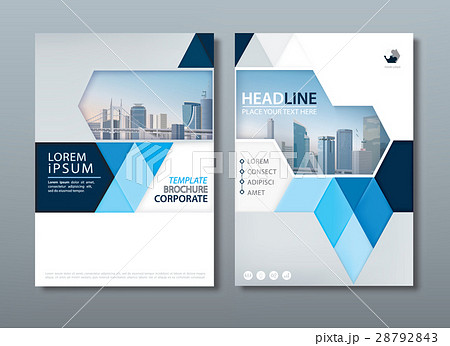 blue annual report brochure flyer design template のイラスト素材