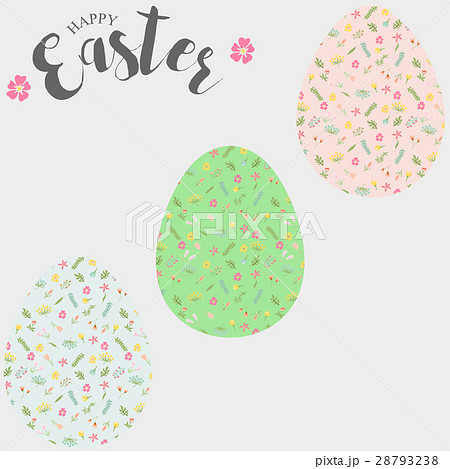 Easter eggs, set of Easter eggs with floralのイラスト素材 [28793238] - PIXTA