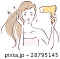 髪を乾かす女性 28795145