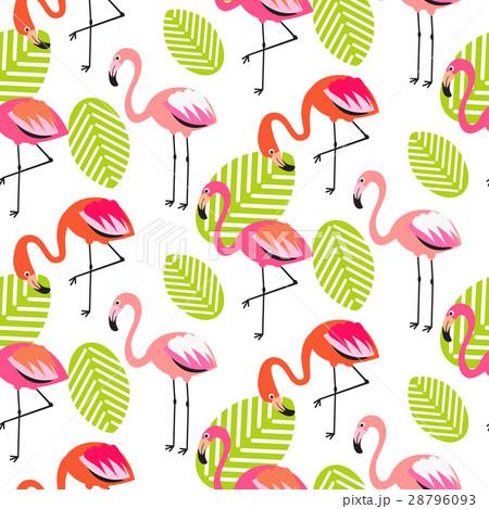 Summer flamingo and leaves seamless pattern.のイラスト素材 [28796093] - PIXTA