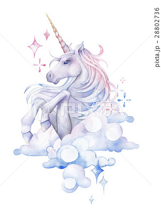 Cute watercolor unicornのイラスト素材 [28802736] , PIXTA