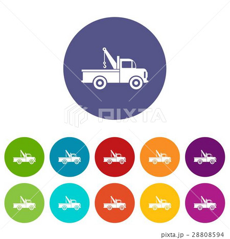 Car towing truck set icons 28808594