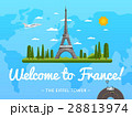 Welcome to France poster with famous attraction 28813974