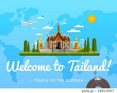 Welcome to Thailand poster with famous attractionのイラスト素材 [28814007] - PIXTA