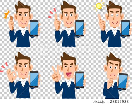 男性 スマートフォン 表情としぐさのセット 28815988