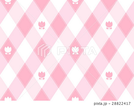 チューリップと斜めギンガムチェック風柄のかわいいシームレスパターン ピンク系 ベクター 28822417