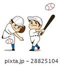 チラシやパンフレットでカットとして使用できるピッチャーとバッターの野球少年のイラスト 28825104