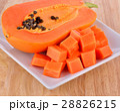 Ripe papaya sliced on white plate 28826215
