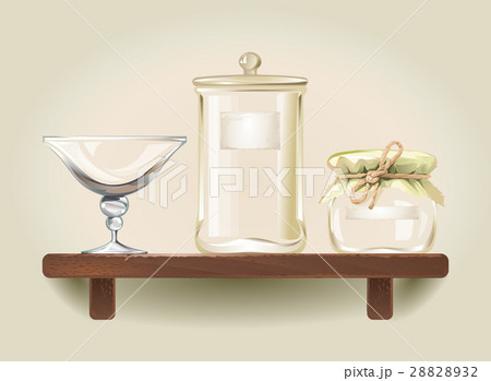illustration of empty glass jars and a bowlのイラスト素材 [28828932] - PIXTA