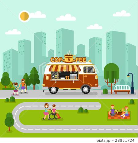 City landscape with coffee van 28831724