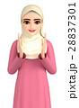 3D イラスト - 光を見つめているヒジャブを着たイスラム女性 28837301