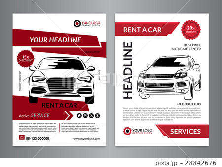 set a4 rent a car business flyer template のイラスト素材 28842676