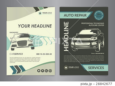 set a4 auto repair business layout templates のイラスト素材