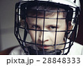Little boy in the hockey helm. Emotions of child.  28848333