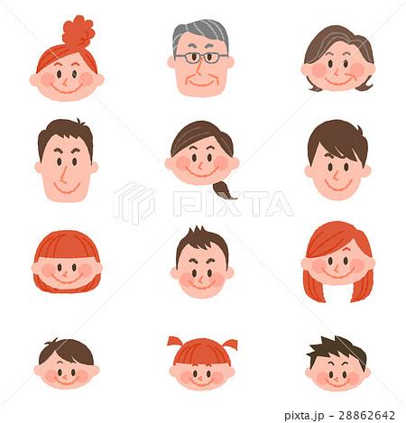 いろいろな年代の人々の顔アイコン 28862642