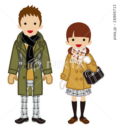 学生カップル 冬服 ツインテールのイラスト素材 28866715 Pixta