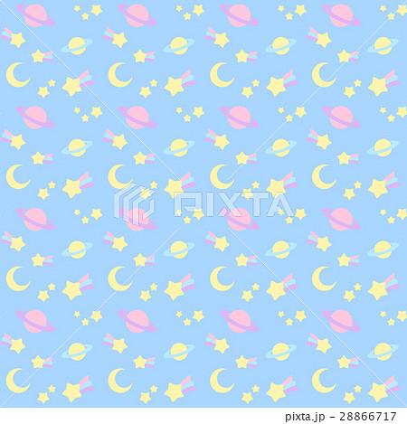 ファンシーでかわいい流れ星・宇宙柄シームレスパターン 背景・テクスチャー 青系 ベクター 28866717