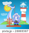 Elephant on the ship at sea with the lighthouse 28869387