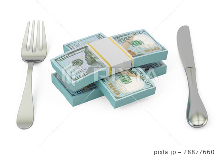 packs of dollars with fork and knife, 3D renderingのイラスト素材 [28877660] - PIXTA