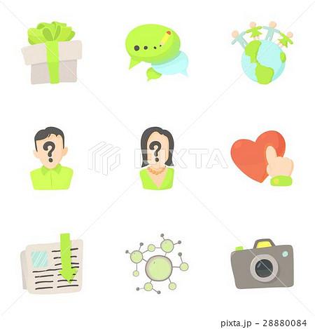 online interaction icons set cartoon styleのイラスト素材 28880084