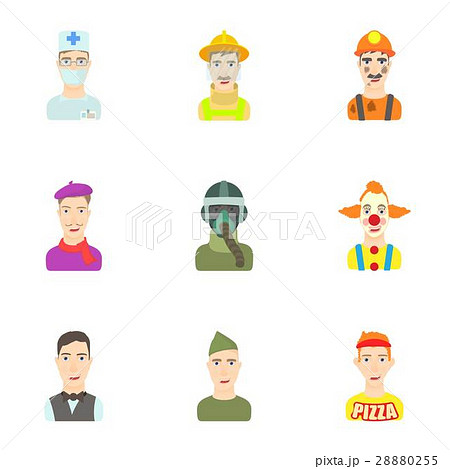 Profession icons set, cartoon style 28880255