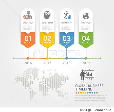 business timeline elements template のイラスト素材 28887712 pixta